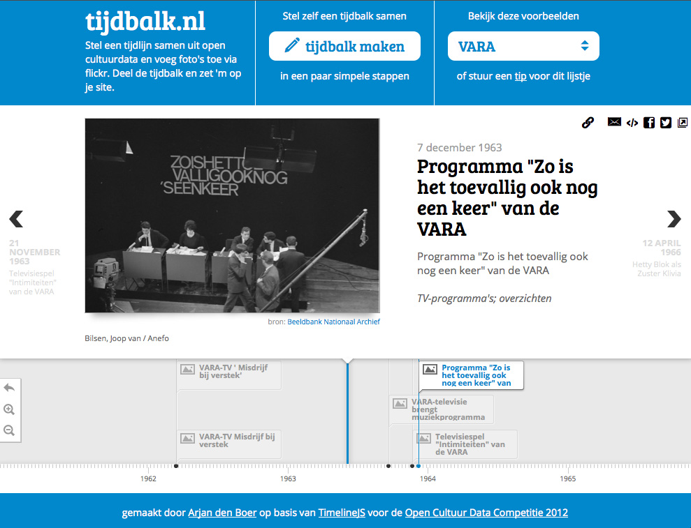 Figure 9: National Archives prize winner Tijdbalk.nl, developed by Arjan den Boer (http://tijdbalk.nl/).