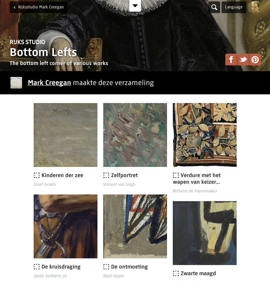 Figure 14: Mark Creegan collected only the bottom left corner of various paintings