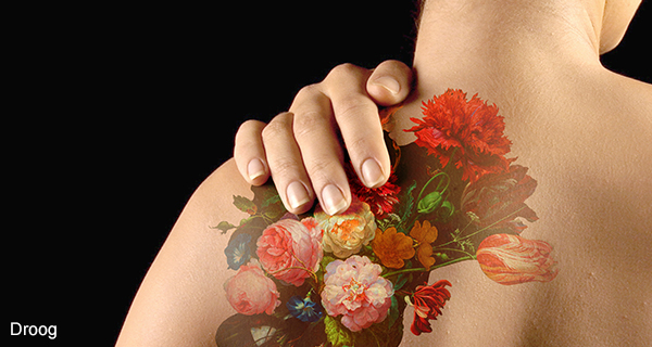 Figure 1: Tattoo by Droog, based on the 17th century painting Still Life with Flowers by Jan Davidsz. de Heem