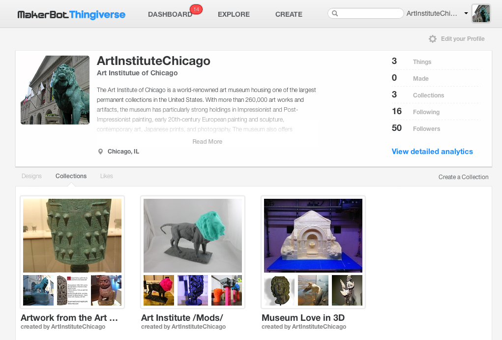 Figure 4: The Art Institute of Chicago on sharing 3D models and collections on the Thingiverse