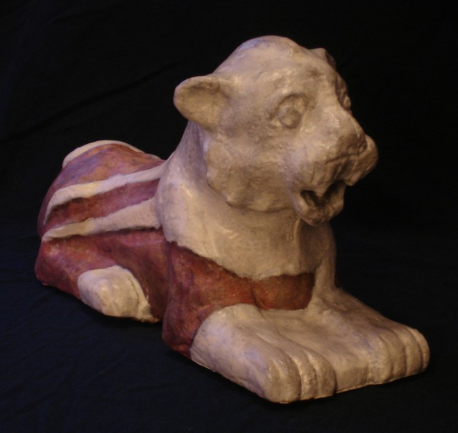 Figure 5: A recreated statue of a lion from from the Mesopotamian town of Nuzi. (Photo from Learning Sites/Neathawk Signs and Designs)