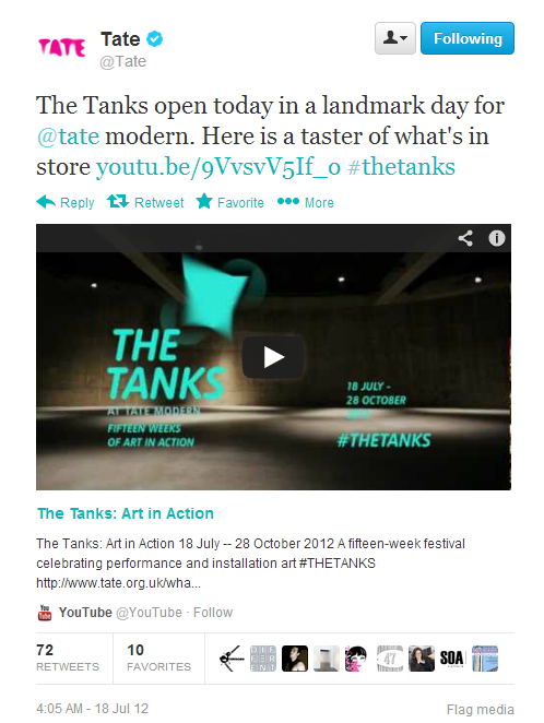 Tweet sent from Tate's Twitter account: The Tanks open today in a landmark day for @tate modern. There is a screenshot of the video.