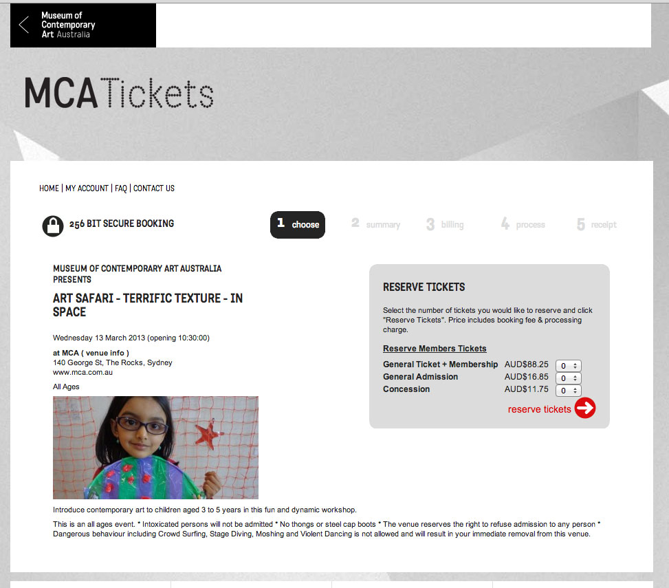 MCA Tickets event page