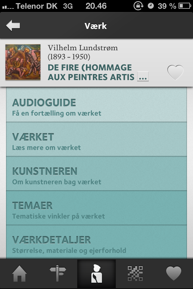 Fig. 6. A page for a work of art. The user can select an audioguide, text about the art work (danish: Værket), about the artist (danish: kunstneren), related themes (danish: temaer) or details (danish: værkdetaljer).
