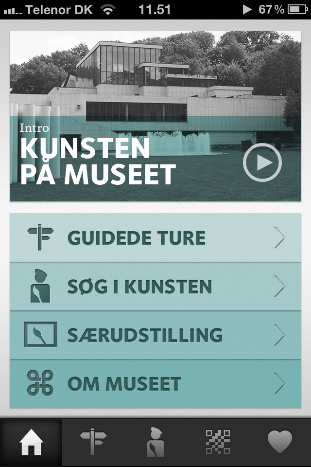 Front page menu. Guided Tours (danish: Guidede ture). Explore the Collection (Søg i kunsten). Special exhibitions (Særudstillinger). About (Om museet)
