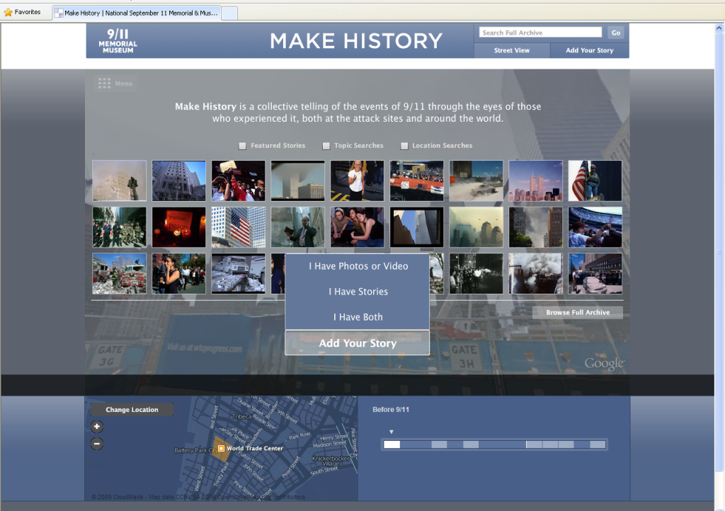 Figure 5. Make History - Documenting the 9/11 attacks