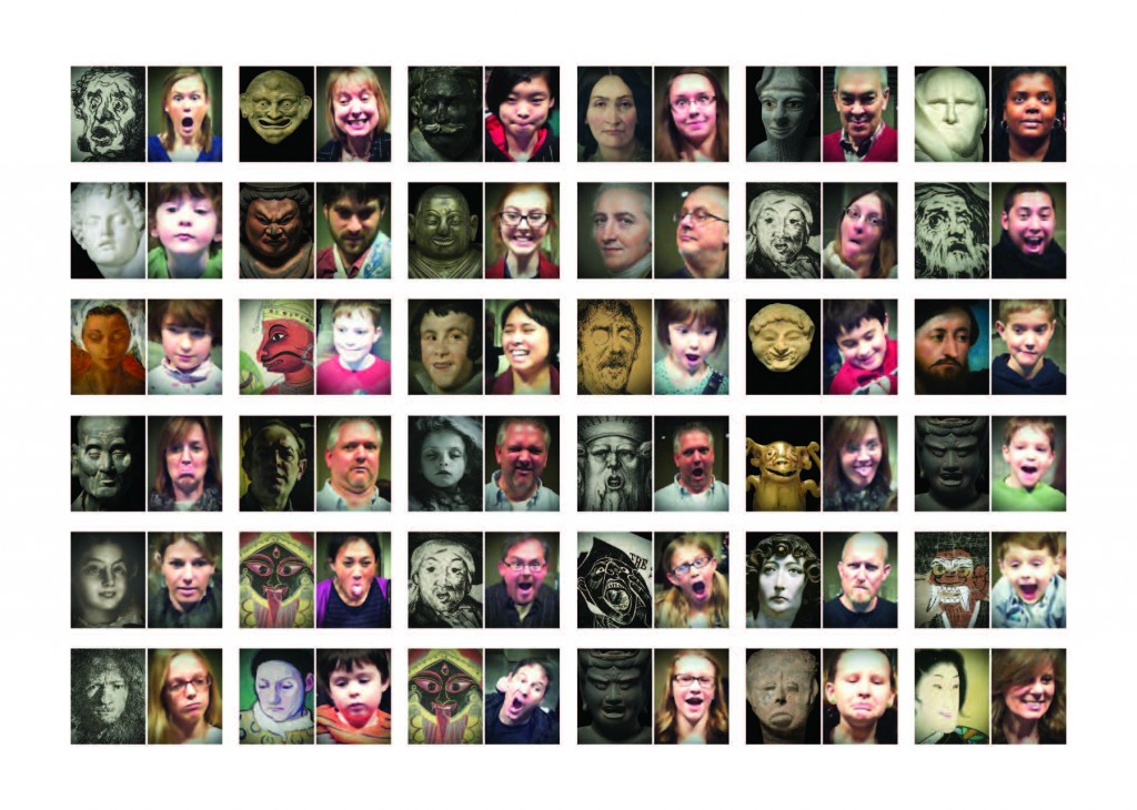 "Figure 11: Visitors captured at the ""Make a Face"" game in the sculpture lens.  Photo courtesy of Local Projects"