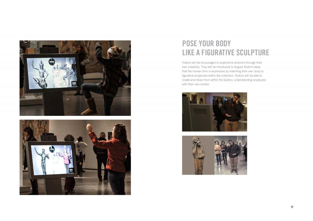 Figure 13: Visitors playing Expression game in Gallery One's sculpture lens. Photo by Local Projects