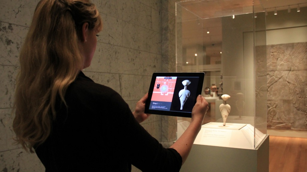 Figure 4: Using ArtLens, visitors can take a tour of their own creation, by favoriting artworks in ArtLens and on the Collection Wall. Photo courtesy of Local Projects